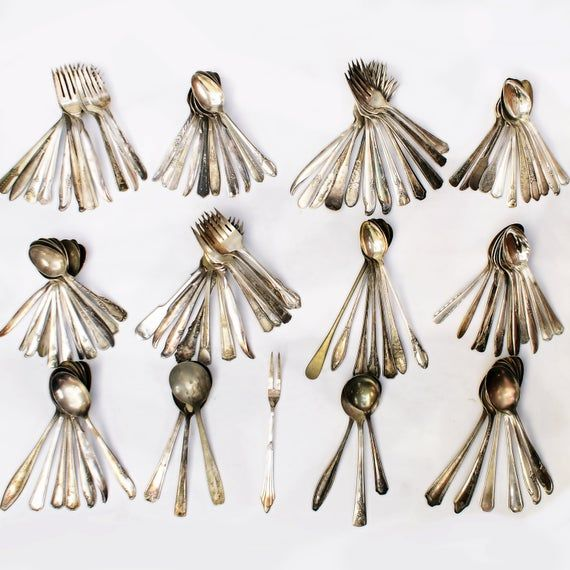 Lot Of Silver Plate Flatware 107 pieces total, Giving You 7 Extra Pieces For Free! Gorgeous Mixed Detailed Patterns, Everything From Antique To Vintage!Consists Of 1 Hors d'oeuvre Fork, 7 Iced Tea Spoons, 5 Soup Spoons, 13 Tbs, 35 Forks, 46 Various Tsp Smallest Piece Measures 5 1/8