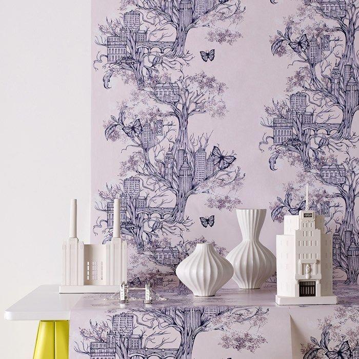 arbre ville lilas tapisseries magnifique pinterest papier peint d co papier peint et. Black Bedroom Furniture Sets. Home Design Ideas