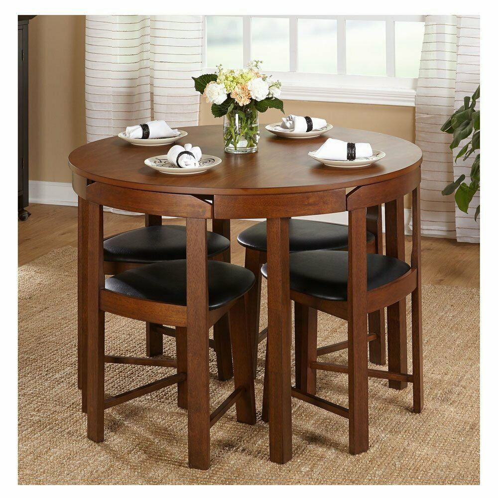 Compact Dining Set 5 Piece Round Walnut Kitchen Small Table Wood Space Saving 24319355156 Ebay In 2020 Round Dining Room Kitchen Table Settings Dining Room Bar