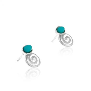 925 fine silver stud short dangle earrings featuring the perpetual Circle of Life, symbol of the infinity of all things in the universe an the cyclical nature of life. The overall size of the earrings is quite small but the vibrant turquoise gem, similar to the Greek blue sky, makes them stand out. Match these silver earrings with a chunky greek design sterling silver necklace and make eye-catching impressions even in your favourite white v-neck t-shirt.