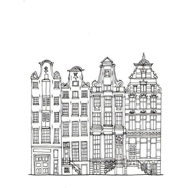 Amsterdam Houses Postcard Found On Polyvore Featuring Home Home