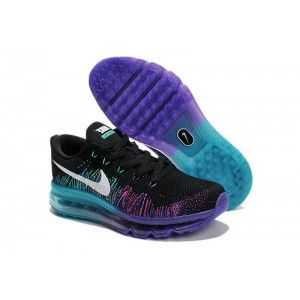 nike women's air max flyknit runing shoes black and purple 408c