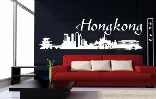 wall sticker hong kong skyline | pretty wall decals | pinterest