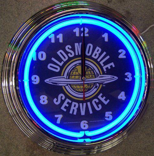 GM Oldsmobile Service Neon Clock Blue 15H x 15W x 3D