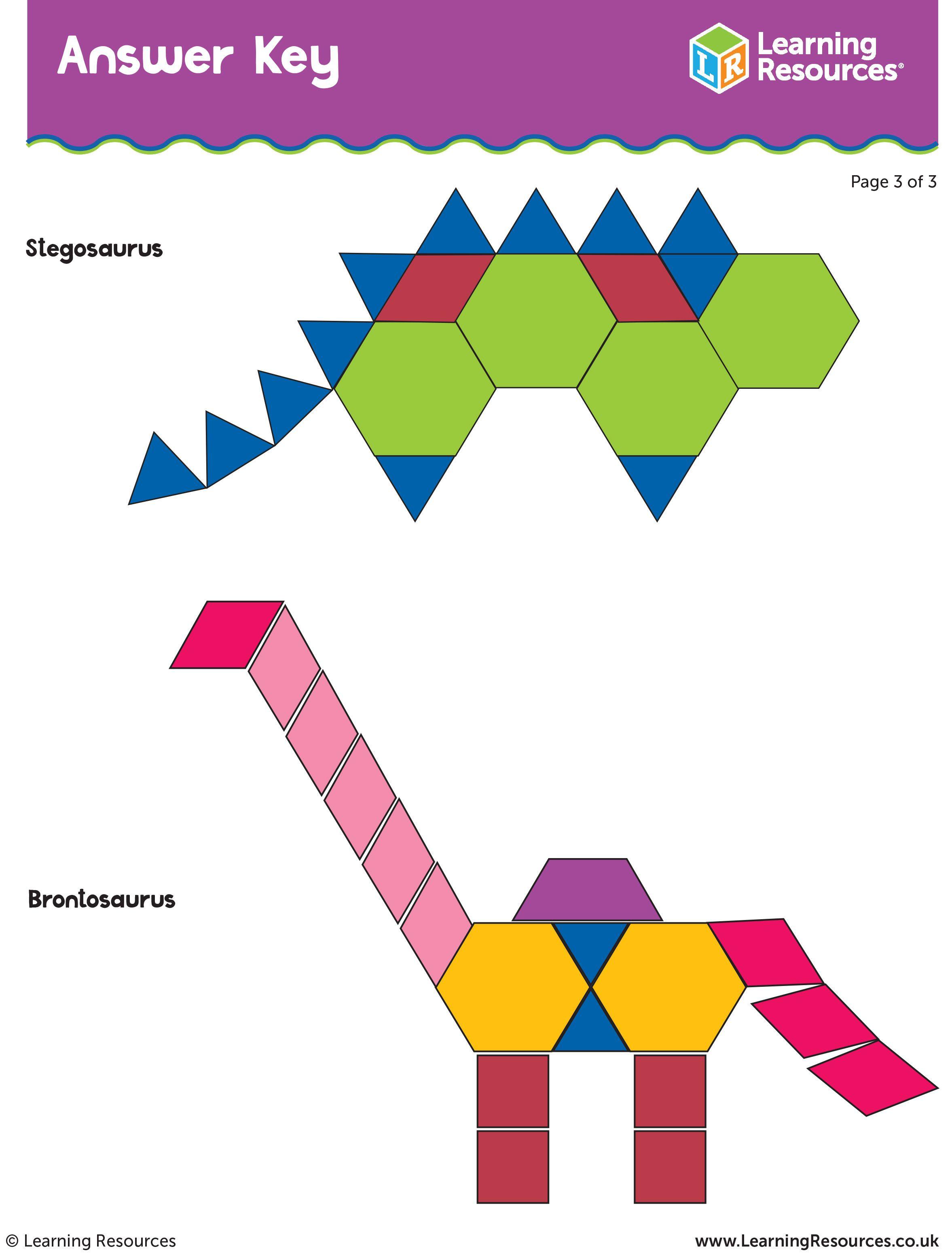 Dino Patterns Pattern Blocks Answer Key Activitysheet