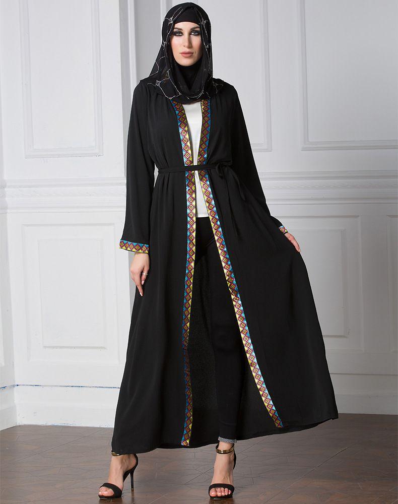 02ad748c6fd4 US$ 15.33 New Model Long Sleeve Chiffon Muslim Winter Coat Front Open Plus  Size Ethnic Clothing Black Abaya Sleeves Designs. Elegant Muslim Dress Women  ...