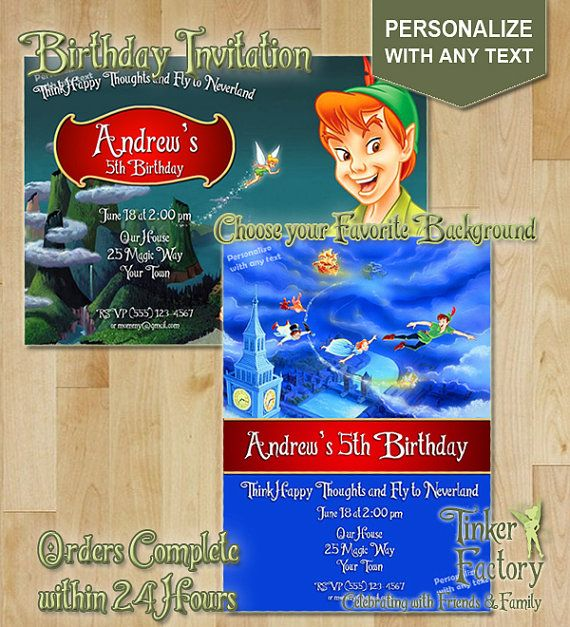 Peter Pan Birthday Party Invitation  Choose from by TinkerFactory