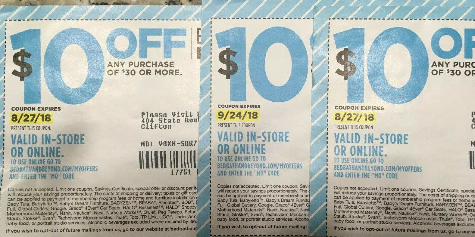 (3) Bed Bath and Beyond coupons 10 off purchase of 30 or