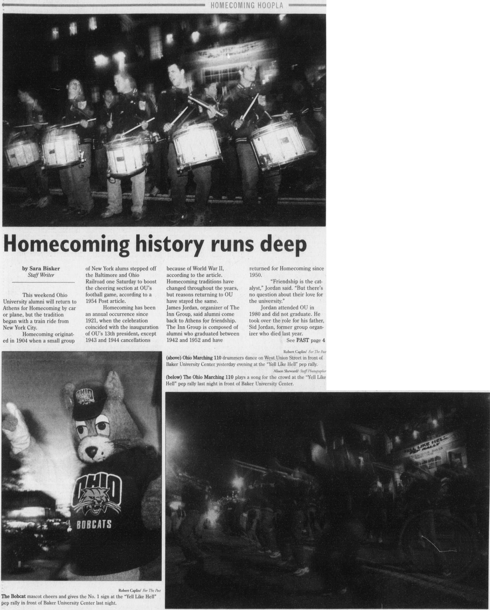"""Post (Athens, Ohio) October 26, 2001 Page 1: """"Homecoming"""