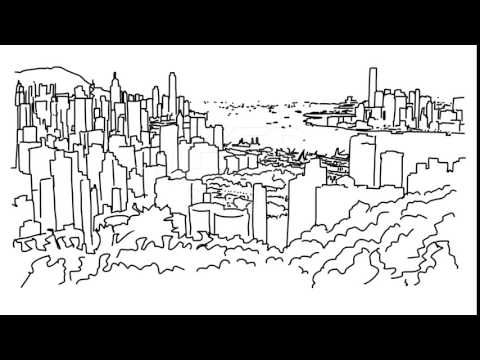 Hong Kong City Outline Animation Hand Drawn Sketch Build