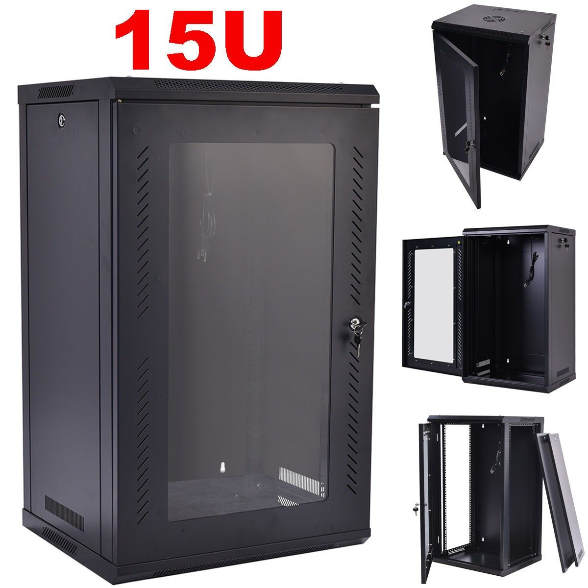 15U Wall Mount Network Server Data Cabinet Enclosure Rack Glass ...