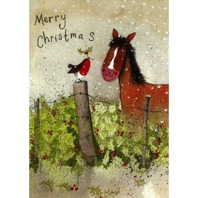 Pack Of 5 Charity Christmas Cards Illustrated With A Pony And Robin Next To A Holly