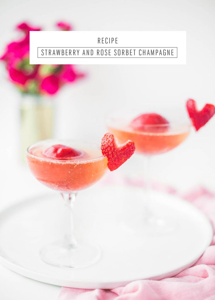 Strawberry and Rose Sorbet Champagne by Sugar & Cloth, an award wining DIY, home decor, and recipes blog.