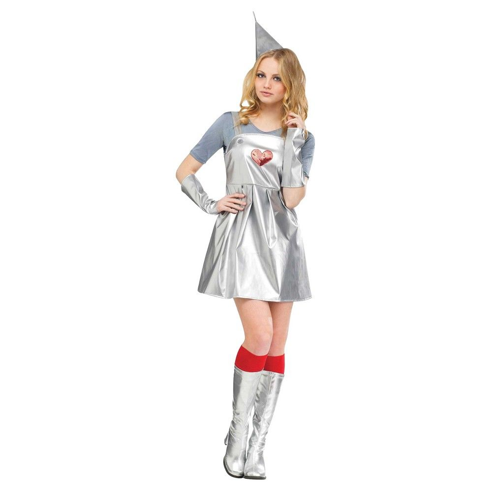 halloween tin gal adult costume - medium/large, silver | costumes