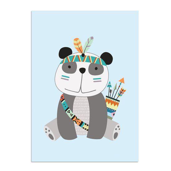 Panda kinderkamer poster babykamer indianen stijl tribal decoratie a2 formaat - Kinderkamer decoratie ...