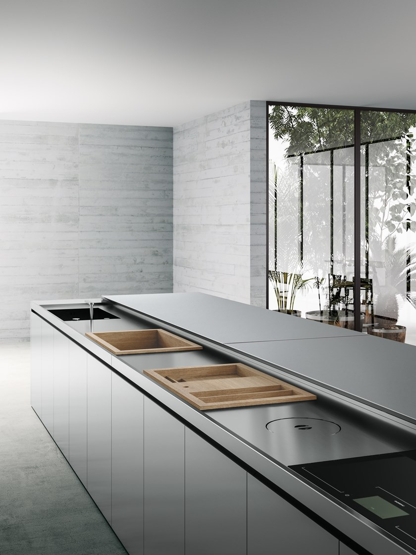 Cucina A Scomparsa In Acciaio Inox Con Isola K6 6 By Boffi Design Norbert Wangen Progetti Di Cucine Interni Della Cucina Arredo Interni Cucina