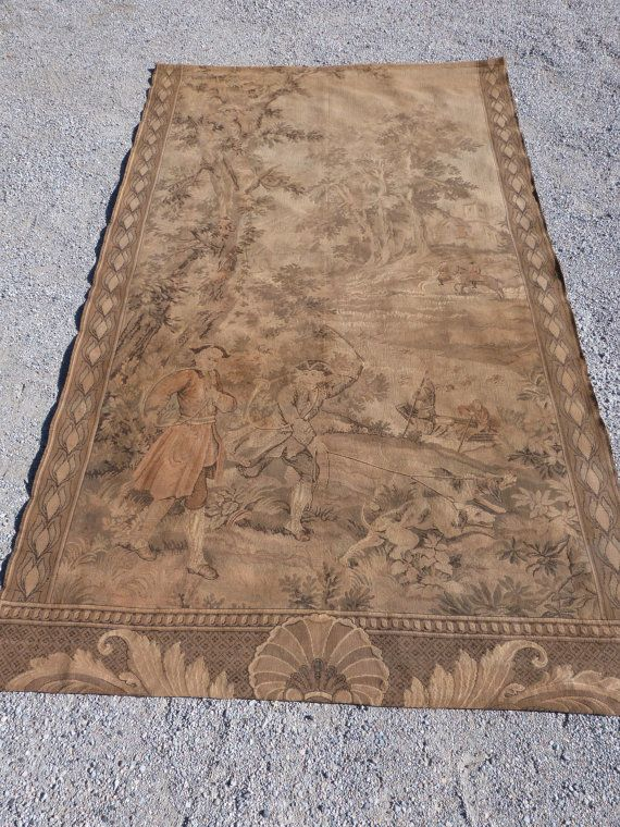 Antique French Large Tapestry Wall Hanging 1800s Chateau Tapestry W Hunting Scene W Dogs Horses Frenc Large Tapestries French Antiques Tapestry Wall Hanging