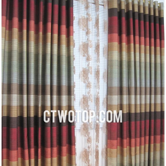 Japanese Classic Multi Color Striped Country Curtains Locations