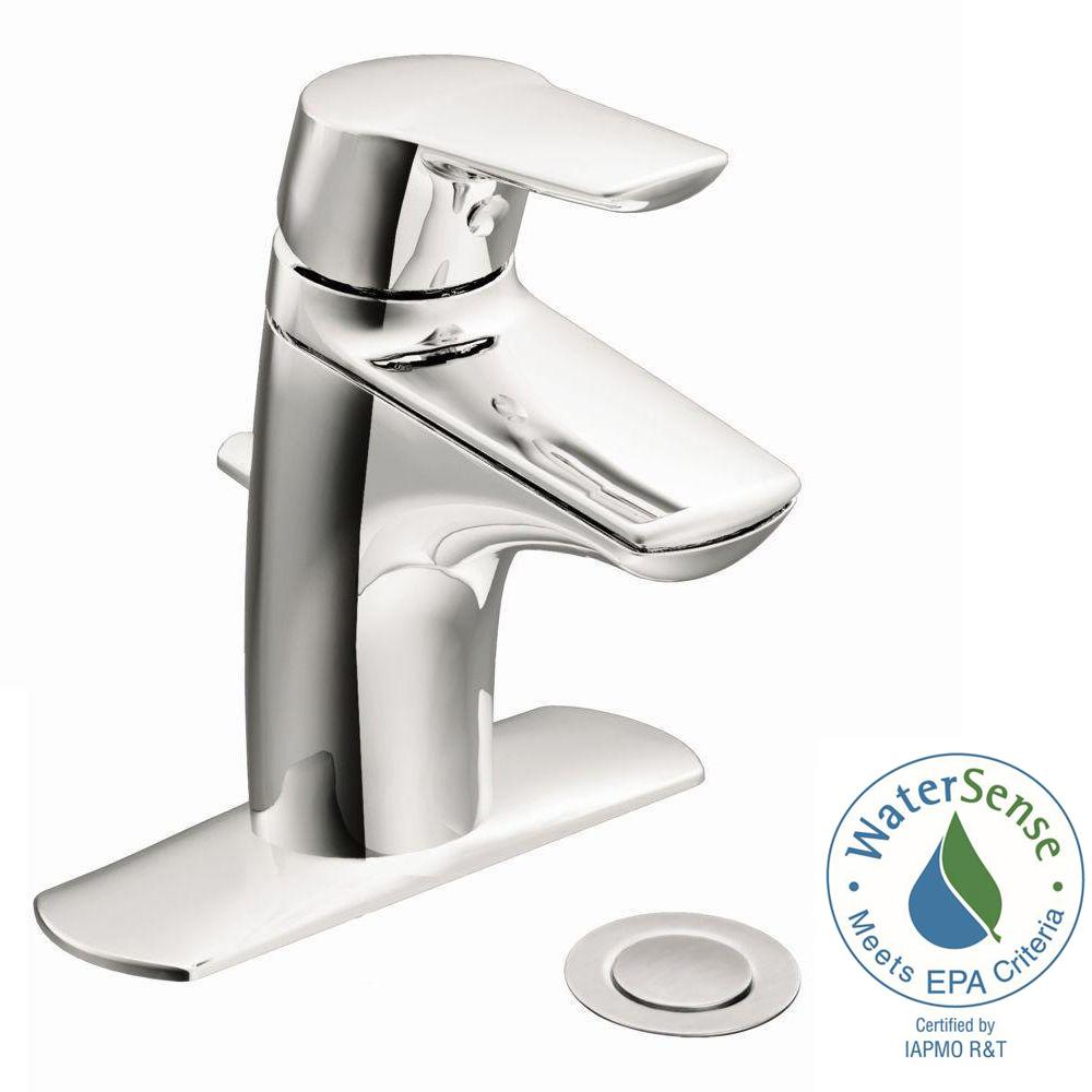 Moen Method Single Hole Single Handle Bathroom Faucet In Chrome Grey