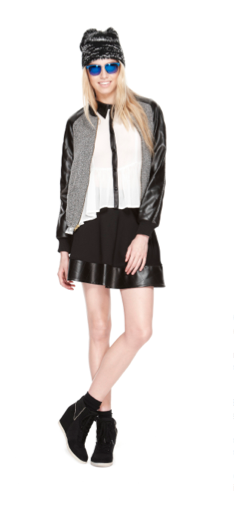 @Olsenboye  quilted bomber jacket, leather accent top, and faux leather trim circle skirt #comingsoon #fallstyle