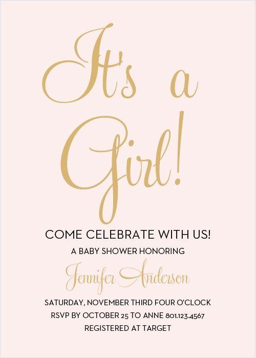 Royal Script Girl Foil Baby Shower Invitations Shower invitations