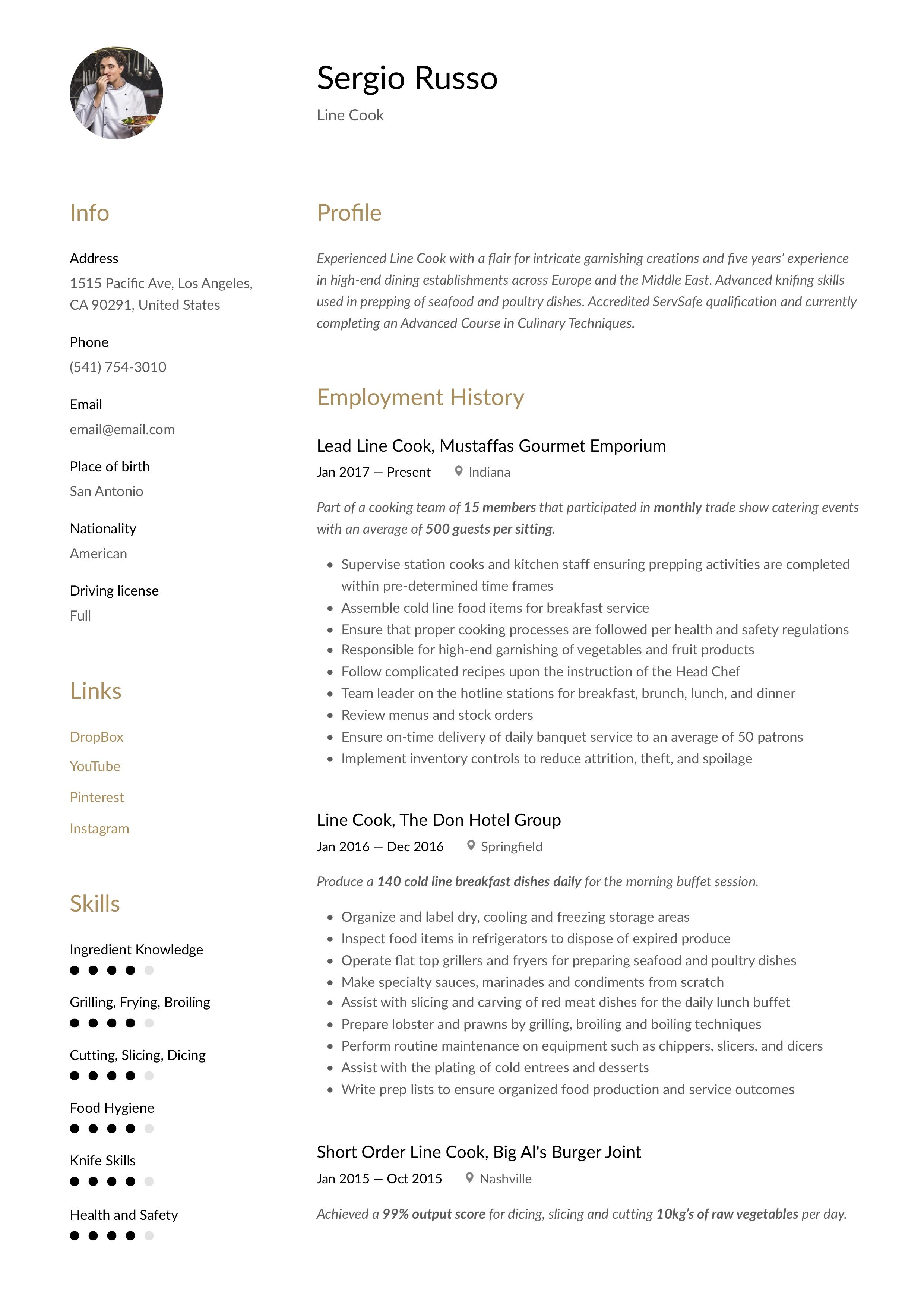 Line Cook Resume & Writing Guide in 2020 (With images