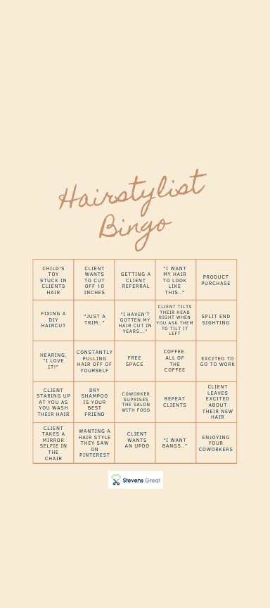 Hairstylist Bingo #hairstylistquotes