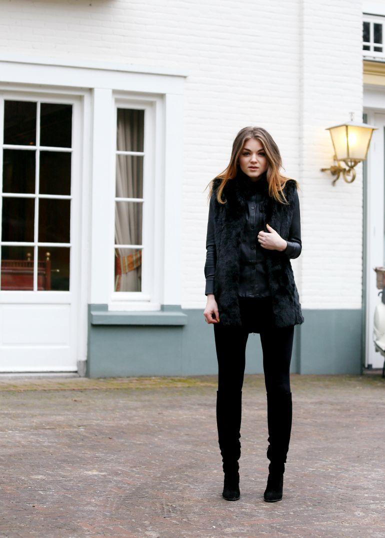 Black faux fur vest zara