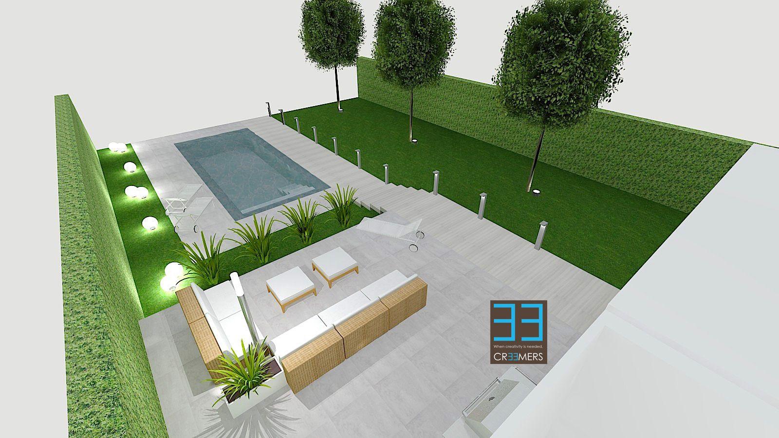 Tuin ontwerp met zwembad en lounge garden design with pool and