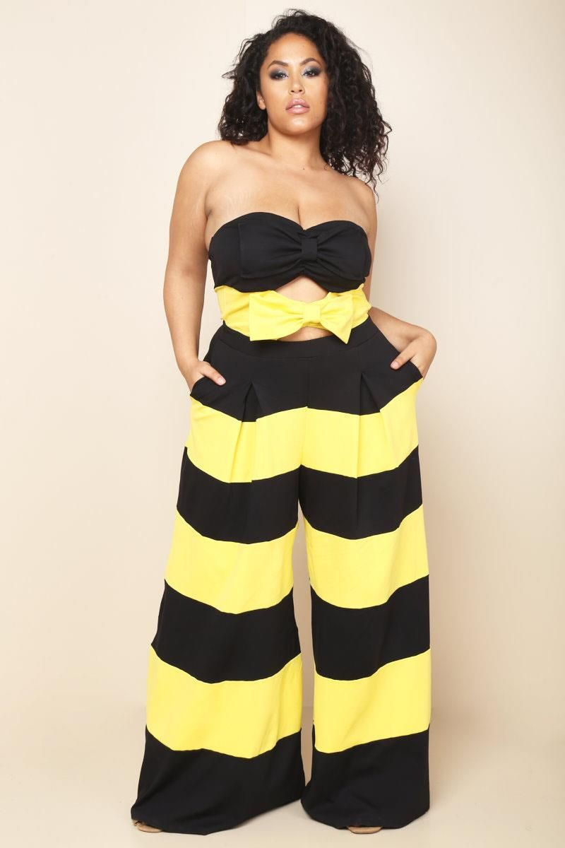 a plus size palazzo jumpsuit with a strapless sweetheart neckline