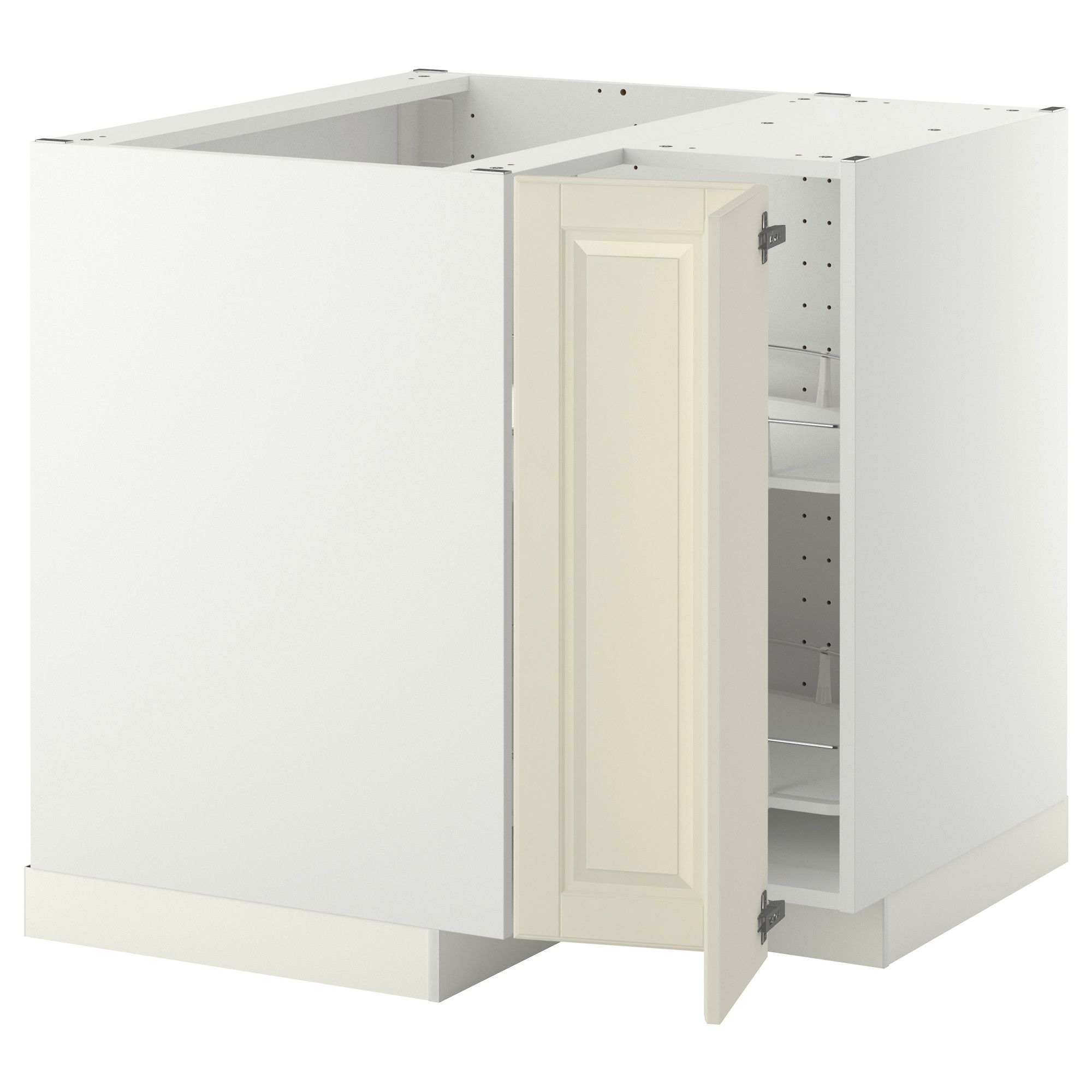 METOD Corner base cabinet with carousel White/bodbyn off-white 88x88 ...