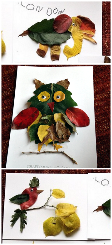 Leaf Animal Fall Crafts for Kids to Make! (Find foxes, owls, birds, and elephants) CraftyMorning.com #fallcrafts