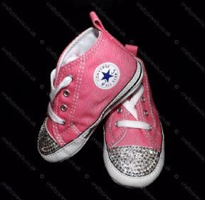 7af637052dc1 Swarovski or Diamante Crystal Converse baby first star crib shoes ALL  Colours You Choose