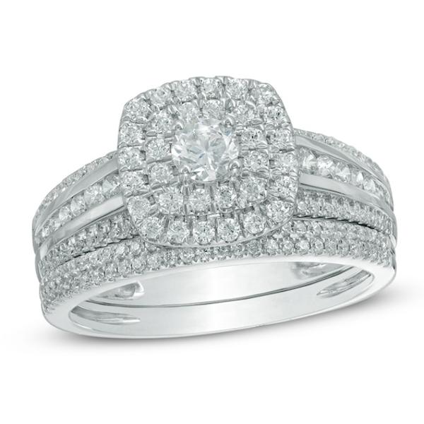 1 Ct T W Diamond Double Cushion Frame Bridal Set In 10k White Gold Diamond Wedding Sets Diamond Bridal Sets White Gold Rings