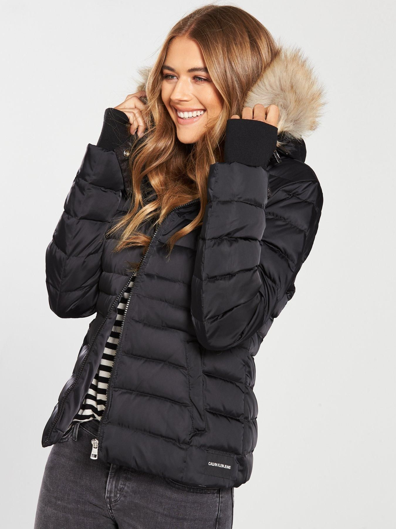 Calvin Klein Jeans Down Hooded Parka Jacket - Black   PUFFERS ... 8064237169