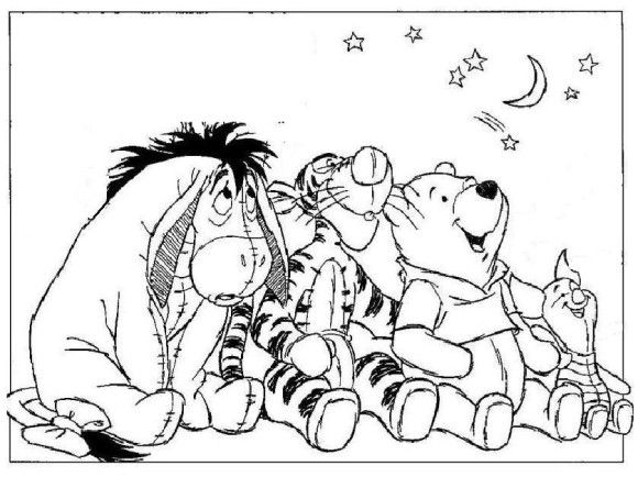 winnie the pooh coloring page with friends looking the stars