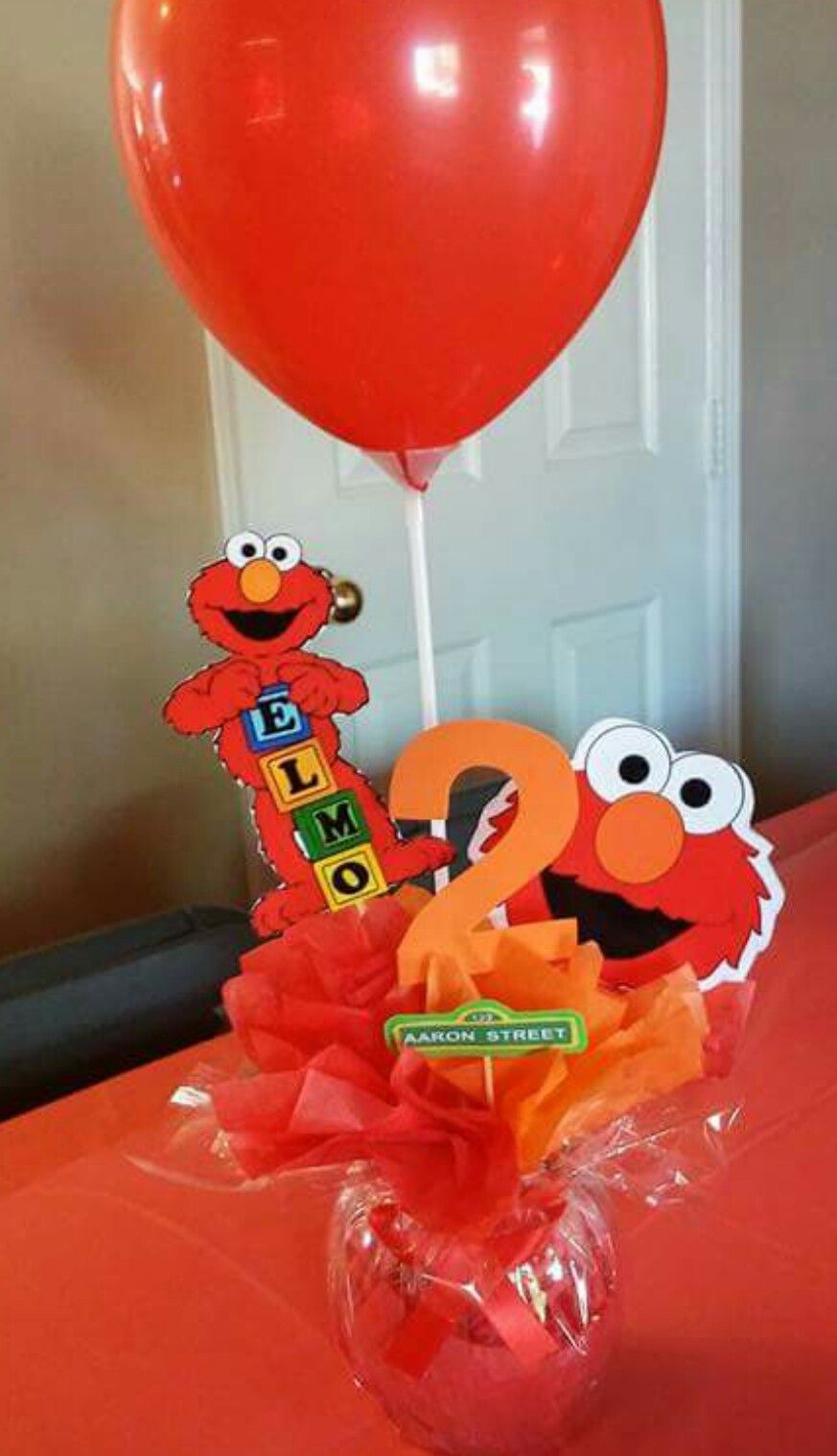 Elmo centerpieces Sesame street birthday, Elmo birthday
