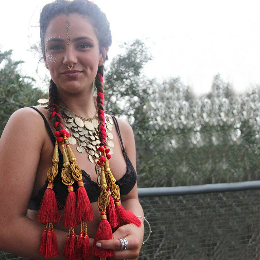 glo paranda - indian hair braid red - glo tatts - 2