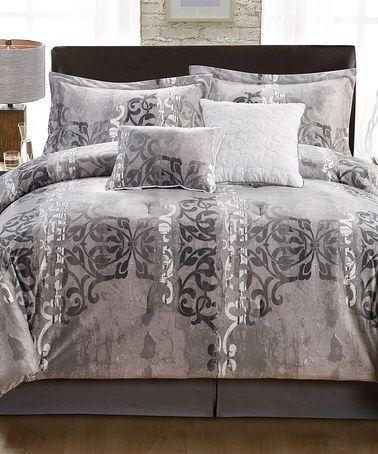 Look at this #zulilyfind! Gray Tia Six-Piece Queen Comforter Set #zulilyfinds