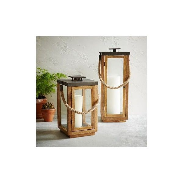 West Elm Wood + Rope Lantern, Tall (180 AUD) ❤ liked on Polyvore featuring home, home decor, candles & candleholders, brown, wood home decor, wooden home decor, brown candles, wood lantern and wooden candles