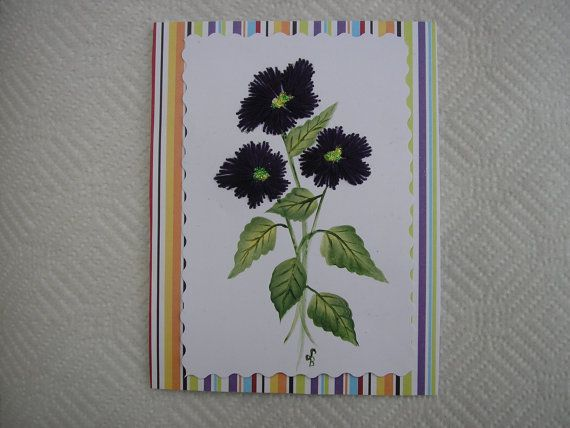Stitched Violets Card Hand Stitched and Hand by LisasPaintedCrafts, $5.00