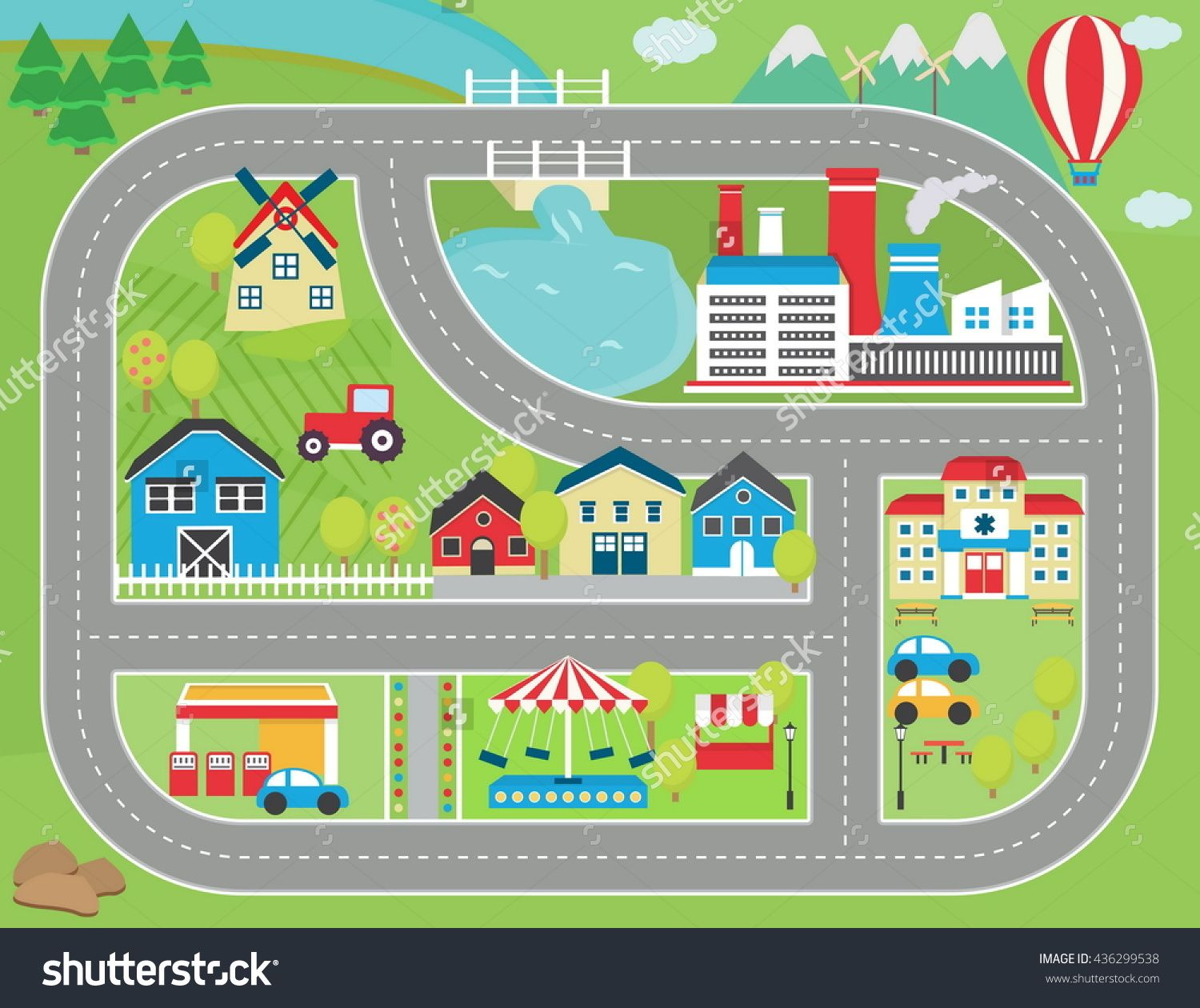 Lovely City Landscape Car Track Play Mat For Children Activity And Entertainment Sunny City