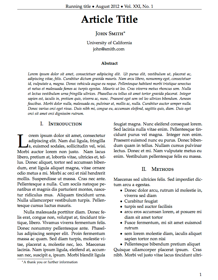 Journal Article Template | LATEX | Pinterest | Template
