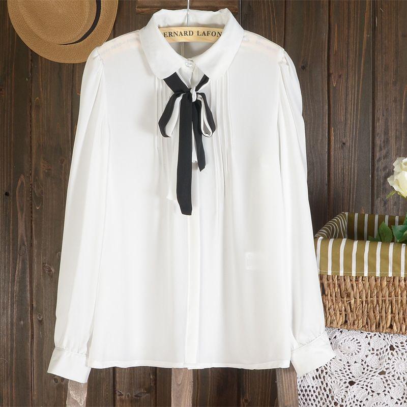 women White chiffon shirts vintage long-sleeve bow knot blouses ...
