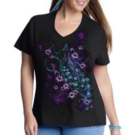 Just My Size Women's Plus-Size Printed Short Sleeve Vneck Tee, Black