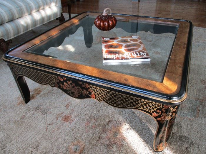 Net Vintage Drexel Heritage Et Cetera Collection Burl Wood With Gl Top Chinoiserie Painted Coffee Table