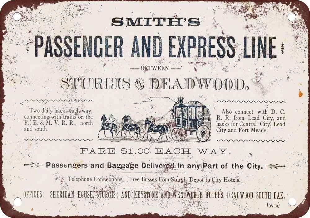 "7"" x 10"" Metal Sign - 1882 Deadwood South Dakota Stagecoach - Vintage Look Repro #Handmade #Novelty"