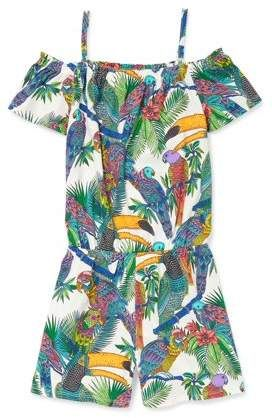 330950ab87a7 Children s Place The Girls  Cold-Shoulder Toucan Print Jersey Romper ...