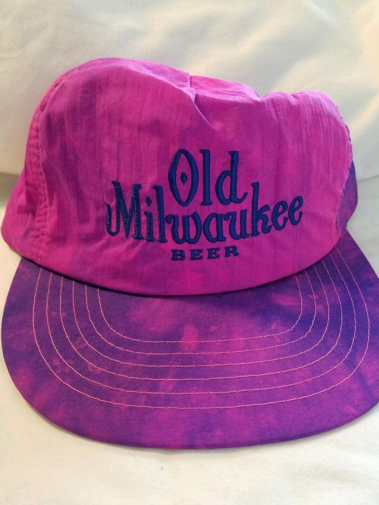 c607c232dc2 Vtg Nylon Tie Dyed Old Milwaukee Beer Retro Rave Purple SnapBack Women   OldMilwaukee  Trucker