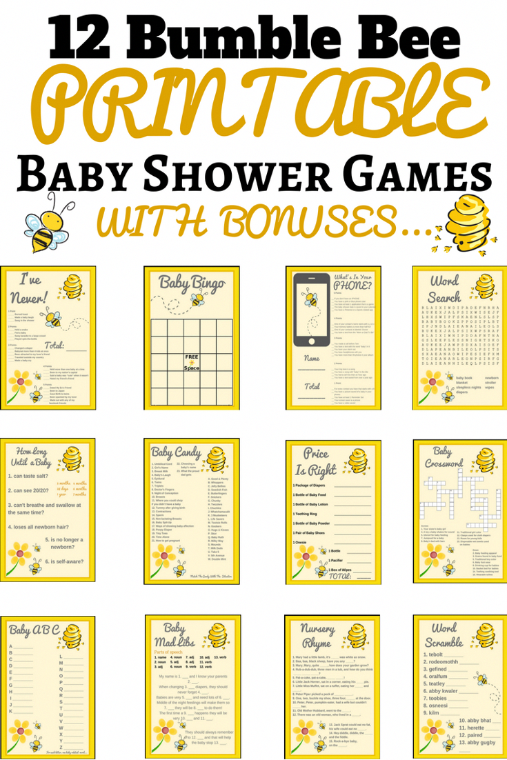 bumble bee baby shower ideas | bumble bee baby shower theme | Printable Baby  Shower Games This baby shower game set is not only super adorable but they  so ...